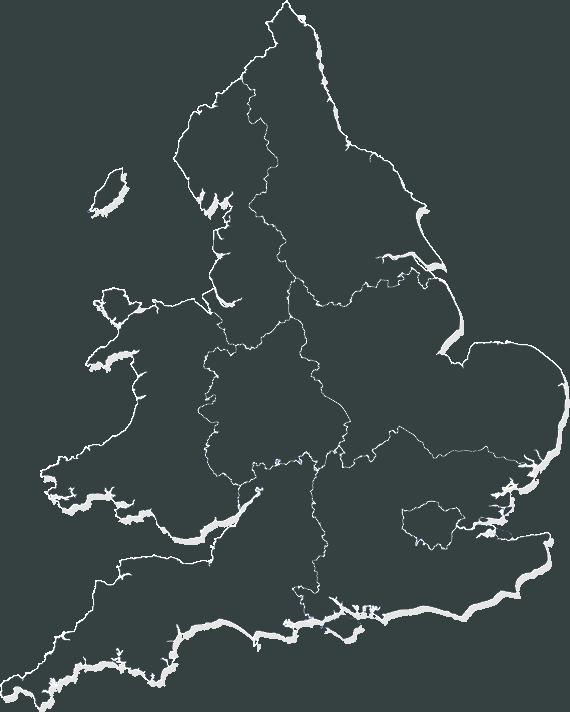 Map of the UK showing regional boundaries