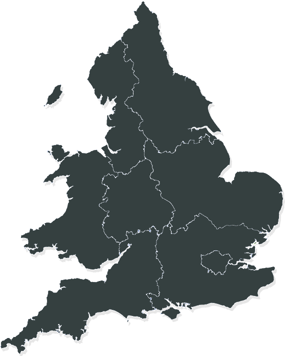 Map of the UK showing regional boundaries